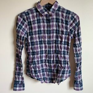 Theory Top Button Up Plaid Purple White Size XS